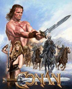 Conan The Barbarian Movie, Arnold Movies, Armadura Do Batman, Conan The Destroyer, Vintage Poster, Sword And Sorcery, Cinema Posters, Movie Poster Art, Fantasy Movies