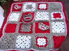 Image detail for -Crochet afghan and baby hat set with sock monkey motif by jarg0n ...