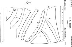 Corset patent 1884.  Click through for illustration of assembled corset.