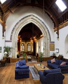 an English church converted into a unique home. the bed on the altar is a little weird, but so glad they restored the gorgeous details. throw in a pipe organ and a garden and my husband would be in heaven!