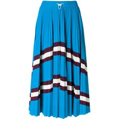Valentino striped pleated skirt (€855) ❤ liked on Polyvore featuring skirts, blue, drawstring skirt, elastic waist skirt, elastic waistband skirt, striped midi skirt and pleated midi skirt