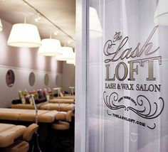 The Lash Loft...the wall treatment and lighting is effective here..making note of design