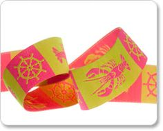 Pink and Lime Nautical Lobster Ribbon - RK Ribbons
