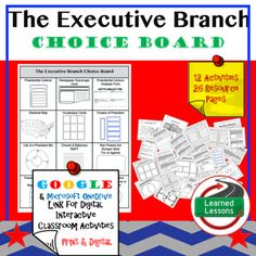 Civics The Executive Branch Choice Board and Activities Paper and Google DriveThis These Executive Branch Activities will cover EVERYTHING you need to plan for an engaging unit in your CIVICS or GOVERNMENT classroom! BUY IN A BUNDLEExecutive Branch BUNDLEVISIT MY STORE AND FOLLOW TO GET UPDATES WHEN NEW RESOURCES ARE ADDED This product includes 1 Choice Board with 12 activities to take you through the entire unit. Citizenship Activities, Writing Activities, Classroom Activities, Secondary Resources, Social Studies Resources, Middle School History, Choice Boards, Executive Branch, Educational Technology