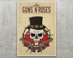 Guns n' Roses  Poster - Vintage Print design de FlatMates en Etsy