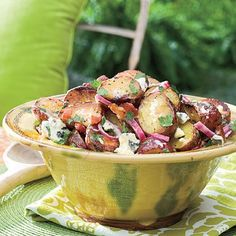 Potato Salad Recipes: Big Daddy's Grilled Blue Cheese-and-Bacon Potato Salad - Our Best Barbecue Side Dish Recipes - Southern Living Pork Chop Side Dishes, Sides For Pork Chops, Blue Cheese Potato Salad, Bacon Potato, Red Potatoe, Cheese Salad, Barbecue Sides, Barbecue Side Dishes, Barbecue Sauce