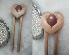 Sweetheart Stone Hair Fork in Maple by LarksHairSticks on Etsy