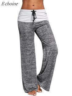 ad5d6134634 Women s High Waist Drawstring Loose Yoga Pants  exercise  leggings  yoga   fitness Knit