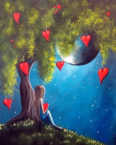 Kai Fine Art is an art website, shows painting and illustration works all over the world. Fantasy Kunst, Fantasy Art, Marie Cardouat, Moon Art, Moon Moon, Heart Art, Whimsical Art, Fairy Tales, Art Drawings