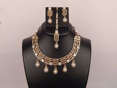 Indian Traditional Handcrafted Polki Fashion Necklace Maang Tikka & Earrings Set #Handmade