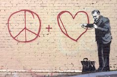 Banksy is a British graffiti artist, whose identity is unknown. His artistic graffiti paintings have been featured on streets, walls, and Banksy Graffiti, Street Art Banksy, Banksy Work, Bansky, Graffiti Artwork, Heart Graffiti, Graffiti Artists, Graffiti Wall, Canvas Artwork