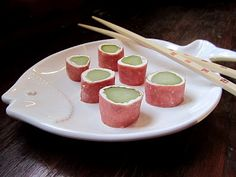 """Cowboy Sushi - dill pickles, cream cheese and dried beef.  In our family we call them the """"pickle things"""".  Love!!"""