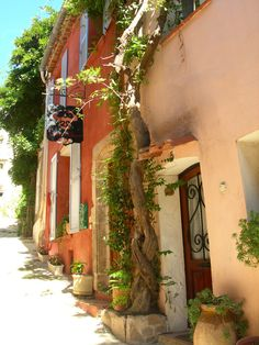 Pink Village Houses - Grimaud, France | by © French Paintings    via provencetoujours: evysinspirations