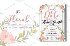 Floral Wedding Invitation by Tiaga on @creativemarket