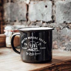 Black Enamel Death Before Decaf mug online