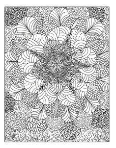 Free coloring page «coloring-adult-rosaces». Abstract floral image composed of petals in different patterns, with lots of details