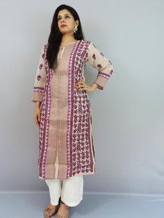71766972b Fawn   Purple Chikankari Kota Kurta - IndianChowk