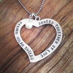 adoption gift. bonded together by love. hand stamped necklace.