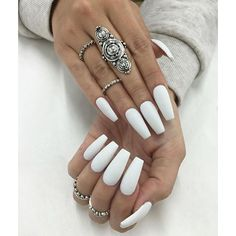 Bold and stylish elegant Long White coffin nail IDEAS – Long Nails – Long Nail Art Designs Long White Nails, Matte White Nails, White Coffin Nails, White Acrylic Nails, Coffin Nails Long, Red Nails, Long Nails, Uñas Color Neon, Khadra