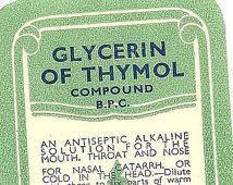 Glycerine van Thymol Compoun Vintage Quack Geneeskunde Label, jaren 1930