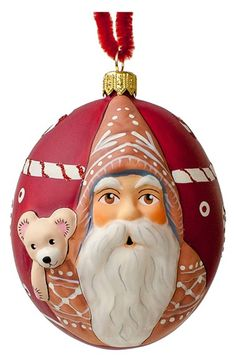 Vaillancourt 'Jingle Gingerbread Santa with Teddy' Round Ornament available at #Nordstrom