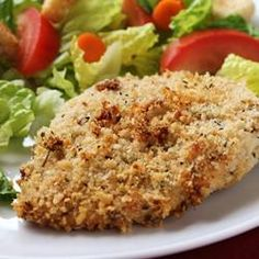 """""""Amazing Chicken"""" -Allrecipes.com   I made this tonight...so moist and delicious!  And baked not fried!  I used chicken tenderloins instead of the suggested chicken breasts, and panko crumbs w/ cajun seasoning instead of italian bread crumbs, but that's the only things I changed!  A new favorite!"""