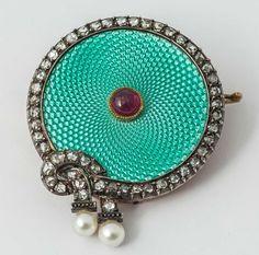 Faberge August Hollming Enamel Ruby Rose Cut Diamond Brooch