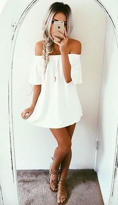 351e07adaa7 How cute is this off the shoulder white dress? Perfect for summer time! We
