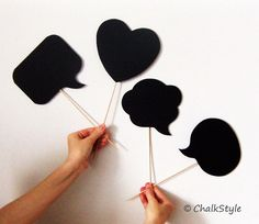 Chalkboard Photo Booth Props Speech Bubbles on a Stick - Set of 4 -- Bubbles and a Heart Chalk Board for Wedding or Engagement Photos