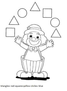 Crafts,Actvities and Worksheets for Preschool,Toddler and Kindergarten.Lots of worksheets and coloring pages. Clown Crafts, Circus Crafts, Carnival Crafts, Shape Worksheets For Preschool, Shapes Worksheets, Preschool Math, Circus Activities, Kids Learning Activities, Theme Carnaval