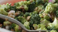 Broccoli, crumbled bacon, raisins and nuts, with a smattering of red onion tossed in a mayonnaise based dressing gives this salad bite, crunch, and sweetness..