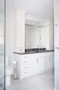 Transitional Bathroom Renovation located in Oakville, Ontario. #Design #TransitionalBath #BathroomDesign #Aquabrass
