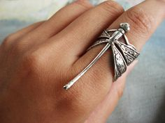 A dragonfly - antique silver plated brass dragonfly detailed floral embossed adjustable ring
