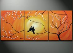 Birds in Tree Branch Painting, 48 x 20 Large Art canvas ORIGINAL Romantic Lovers wedding gift wall decor, birds sitting on a tree.