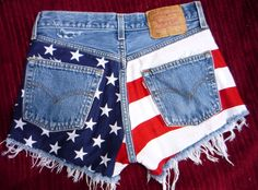 Vtg. Made TO Order American flag cut off shorts, studded, frayed, high waisted. $125.00, via Etsy.