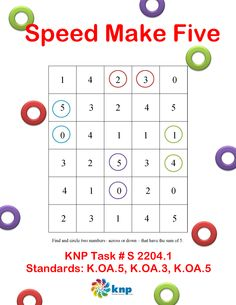 """Speed Make Five"" - Find pairs of numbers that add to make 5. Supports Learning Common Core Standards: K.OA.3, K.OA.5 [KNP Task # S 2204.1]"