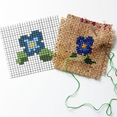Learn how to embroider burlap coasters with this easy DIY - chart included! This is a great way to teach kids how to cross stitch, too!