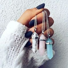 Ohhh pretty Pantone coloured pendants #crystals #Rosequartz