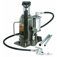 Lift trucks, farm vehicles and more with this workhorse hydraulic jack. This tough jack lifts up to Lbs. with little effort and features a 48 in. long air hose giving you the option to power this hydraulic jack with air. Harbor Freight Tools, Leather Craft Tools, Power Cars, Steel House, Car Manufacturers, Lifted Trucks, Automotive Tools, Bottle, Damascus Knife