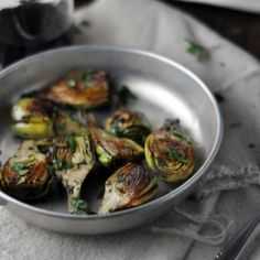 Pan Fried Baby Artichokes with Mint and Lemon: a spring delicacy that's fast and delicious as an appetizer.