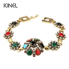 Fine Jewelry Gold Plated Bracelets Black AAA Resin Bracelet Bangle For Women Mosaic Crystal Christmas Gift
