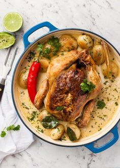 Fragrant Coconut Pot Roasted Chicken - Juicy Chicken roasted in a fragrant Asian-style coconut broth. Amazing flavor for so few ingredients! Substitutions provided.
