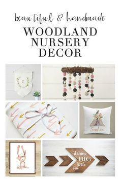 These girly woodland nursery theme decorations are perfect rustic, whimsical baby décor. With arrows, animals, and neutral tones, the décor is perfect for a baby. Good for DIY, the bedding, printables, and wall décor add boho style to your room.