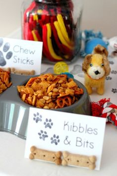 Puppy Party Ideas Kibbles and bits at a dog party! 2 Birthday, Puppy Birthday Parties, Birthday Party Themes, Doggy Birthday, Birthday Ideas, Kitty Party, Party Animals, Dog Themed Parties, Dog Themed Food