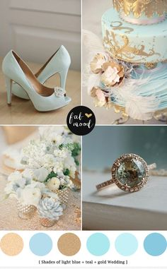 light blue and gold wedding colors