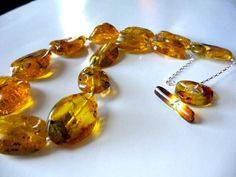 Baltic amber sterling silver necklace .Baltic amber by Colianyc