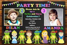 tmnt and Princess Invitation ninja turtles by LittleFoxShopBest