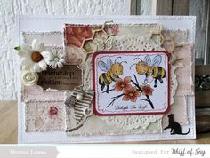 Spring bees.... one of the fab rubber stamps from Whiff of Joy 11082014