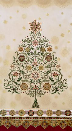 """Robert Kaufman Fabric Winter's Grandeur Christmas Tree 24"""" Panel Holiday with Gold Metallic Accents Quilting Crafting"""