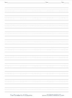 Kindergarten Blank Writing Practice Worksheet Printable ...